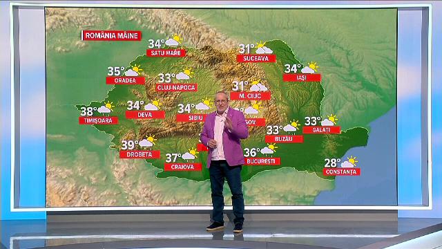 Căldură insuportabilă în toată țara. Unde o să fie ploi abundente și furtuni