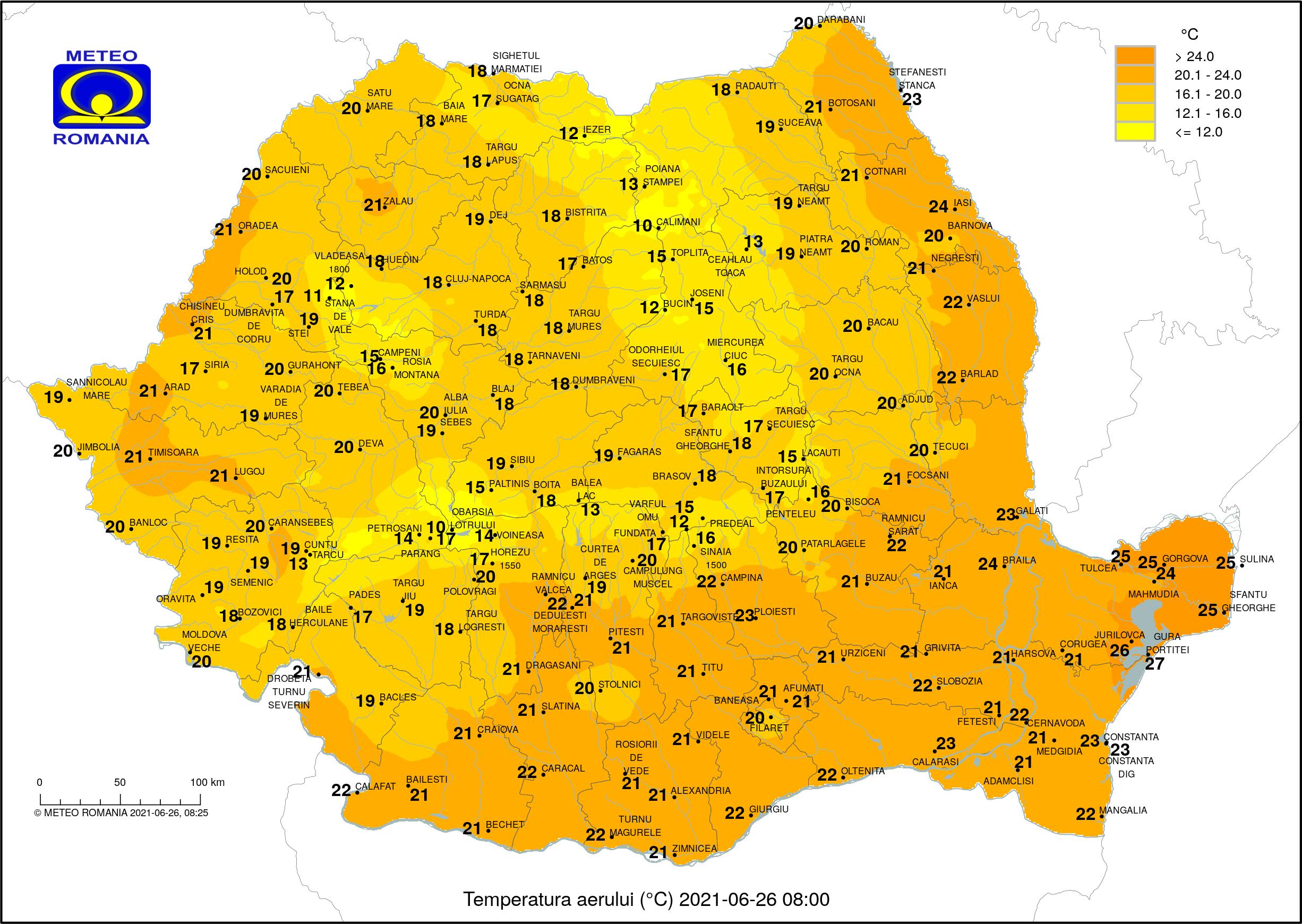Vreme instabilă și ploi abundente în toată țara. Ce temperaturi o să fie la mare și la munte