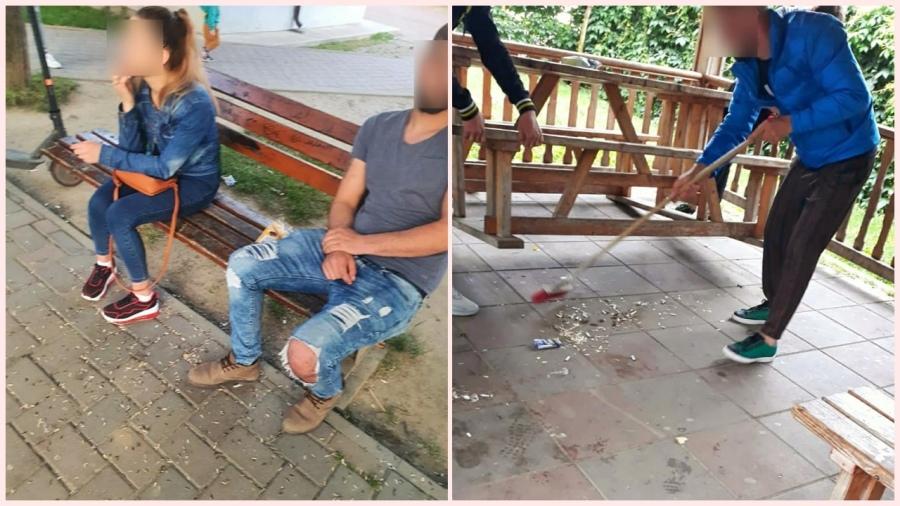 Cum au fost pedepsiți de polițiști doi tineri care mâncau semințe în parc și aruncau cojile pe jos