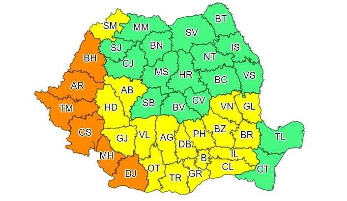 Avertizări de Cod galben şi Cod portocaliu de caniculă şi vreme instabilă în mare parte din ţară