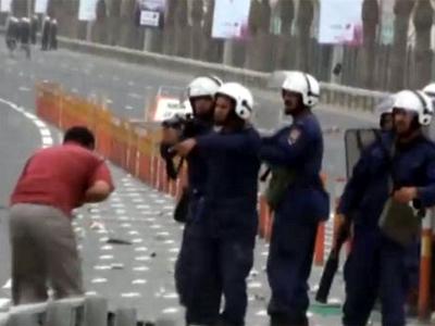 VIDEO socant din Bahrain.Un barbat e impuscat in fata cu gloante de cauciuc