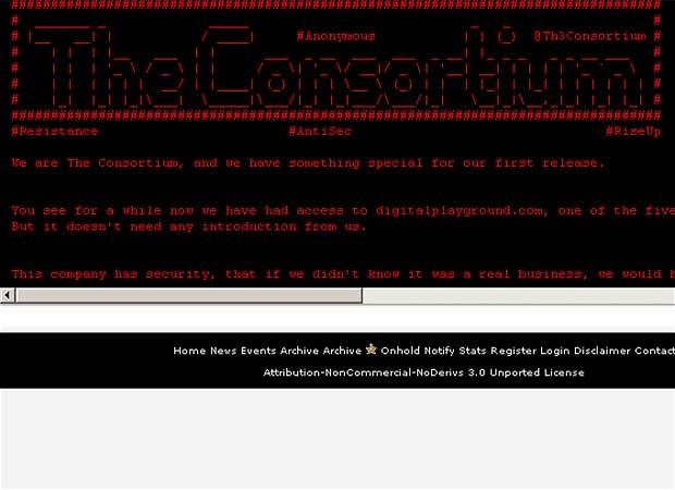 Anonymous a spart unul dintre cele mai mari site-uri pentru adulti. Au 70.000 de adrese si parole
