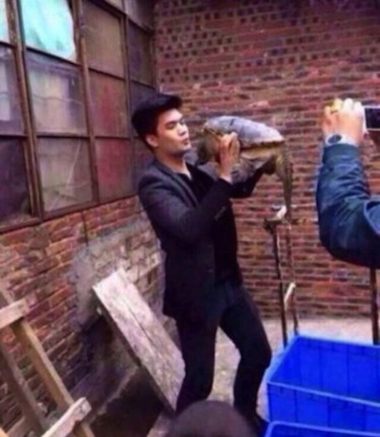 Tratament estetic natural si gratuit. Un chinez a incercat sa sarute o broasca testoasa si s-a trezit cu buza umflata. FOTO