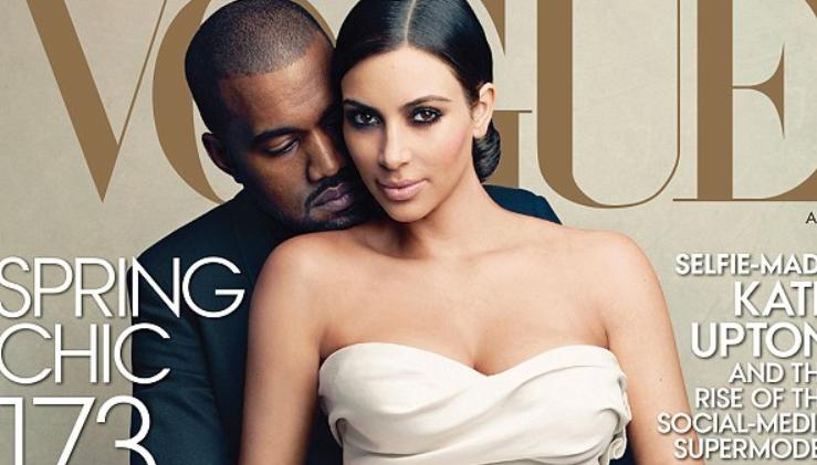 Scandal in stil american.Vogue, aspru criticata pentru ca a pus-o pe Kim Kardashian in rochie de mireasa pe prima pagina