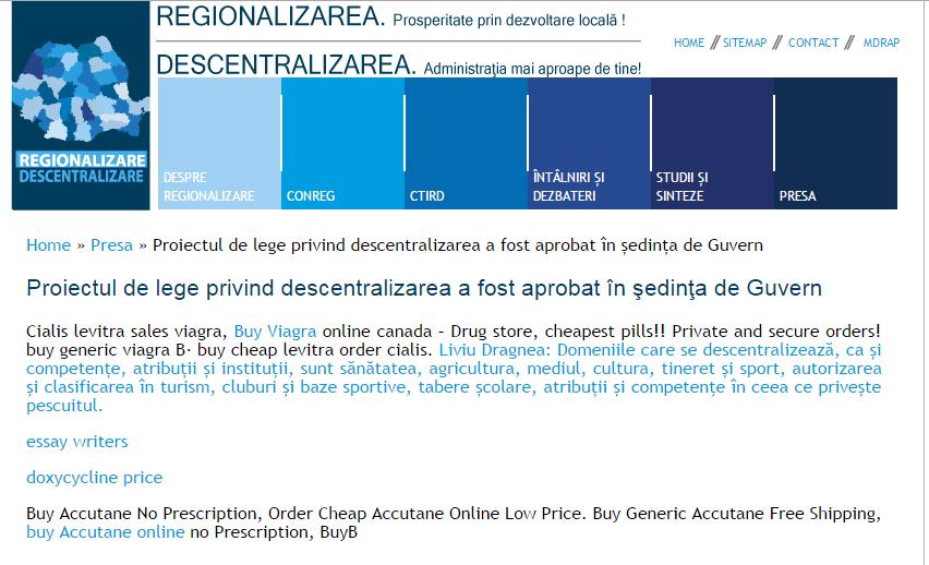 Regionalizarea Romaniei se face cu Viagra. Un site oficial a ajuns sa fie plin de reclame la pastile de potenta