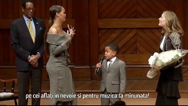 Rihanna, onorata la Harvard pentru actele de filantropie. Un copil de 7 ani a reusit sa o impresioneze profund