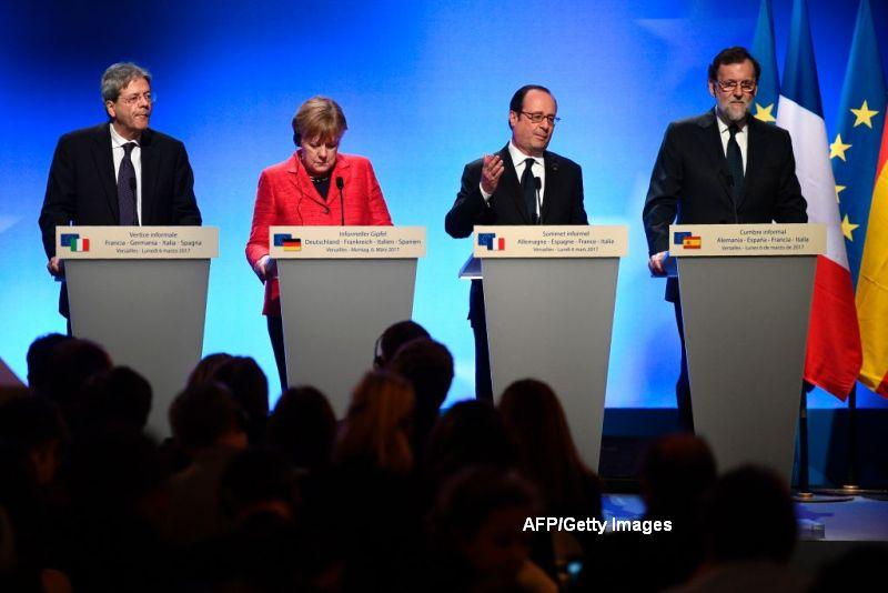 Liderii celor mai mari patru economii din UE, intalnire in Franta. Hollande: