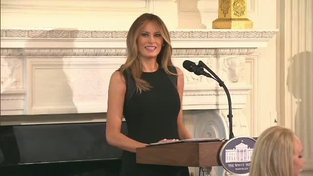 Melania Trump, discurs despre importanta drepturilor femeilor, in paralel cu protestele intitulate