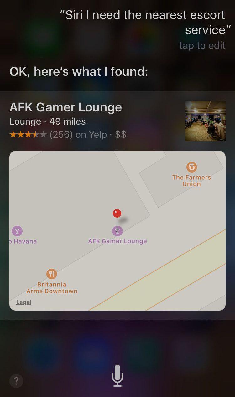 Catre ce loc bizar te directioneaza aplicatia Siri atunci cand cauti cele mai apropiate prostituate, in Canada. FOTO