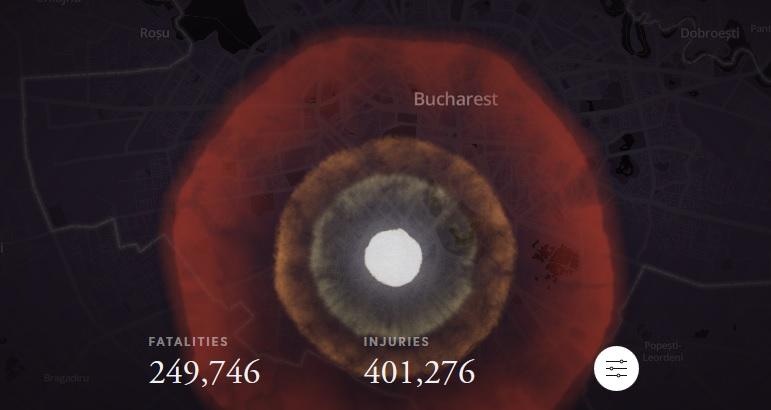 Harta interactivă: efectele devastatoare în cazul unui atac nuclear asupra Bucureștiului