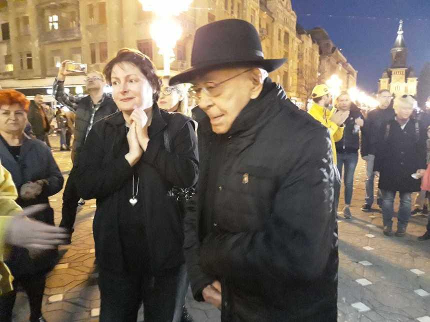 Mihai Şora, la protest în Timişoara: Laura Kovesi reprezintă Justiţia, cu majusculă