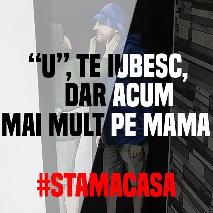 """Şepcile roşii, fanii lui """"U"""" Cluj, au inversat celebrul slogan """"Mamă, te iubesc, dar nu ca pe U"""""""
