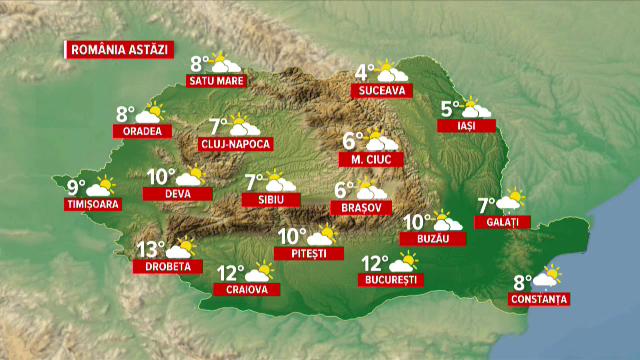Vremea azi, 1 martie. Început mohorât de Mărțișor, dar vin zile frumoase și foarte calde