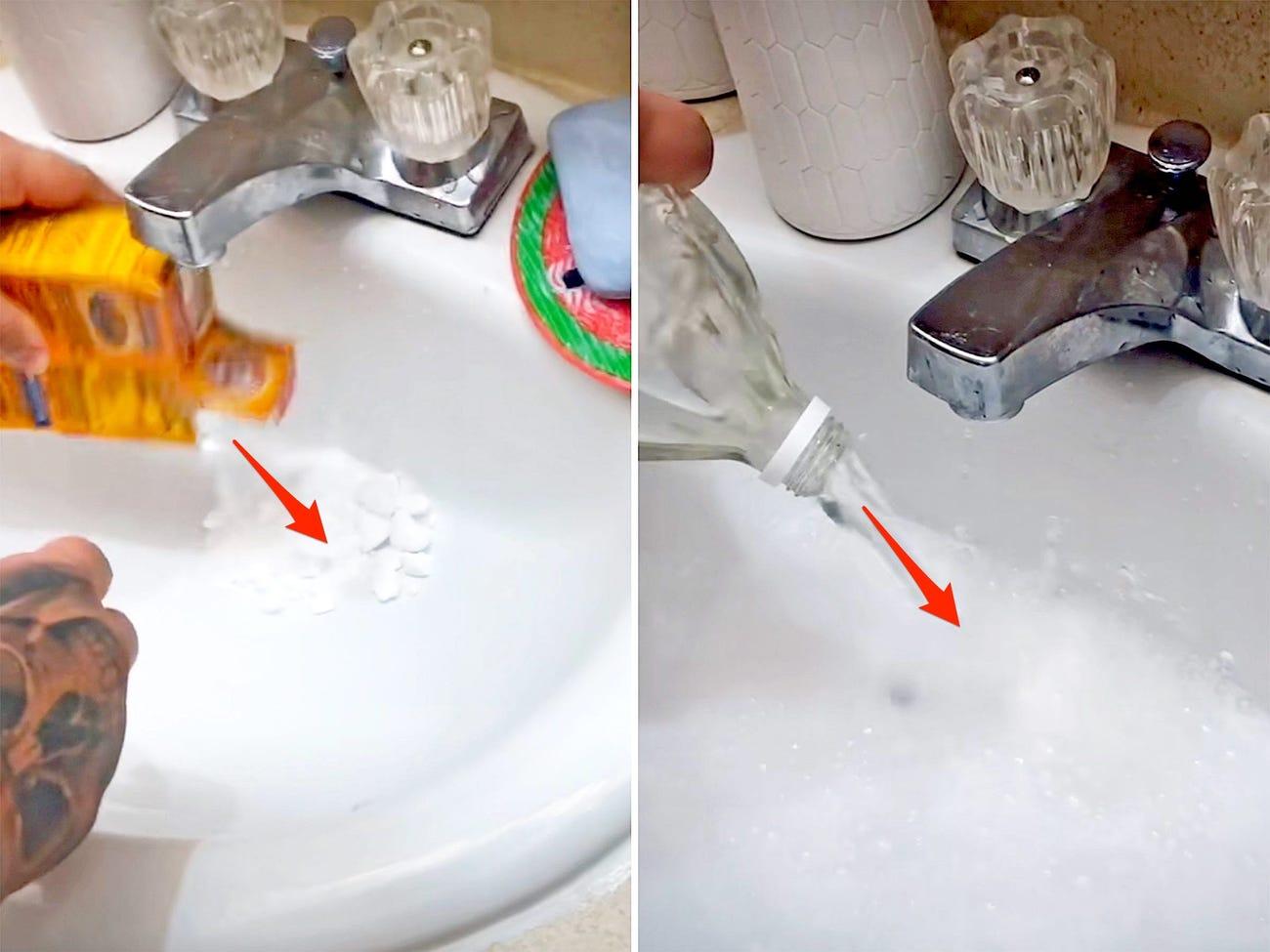 VIDEO. O tânără a turnat bicarbonat de sodiu și oțet în chiuvetă. Ce a urmat