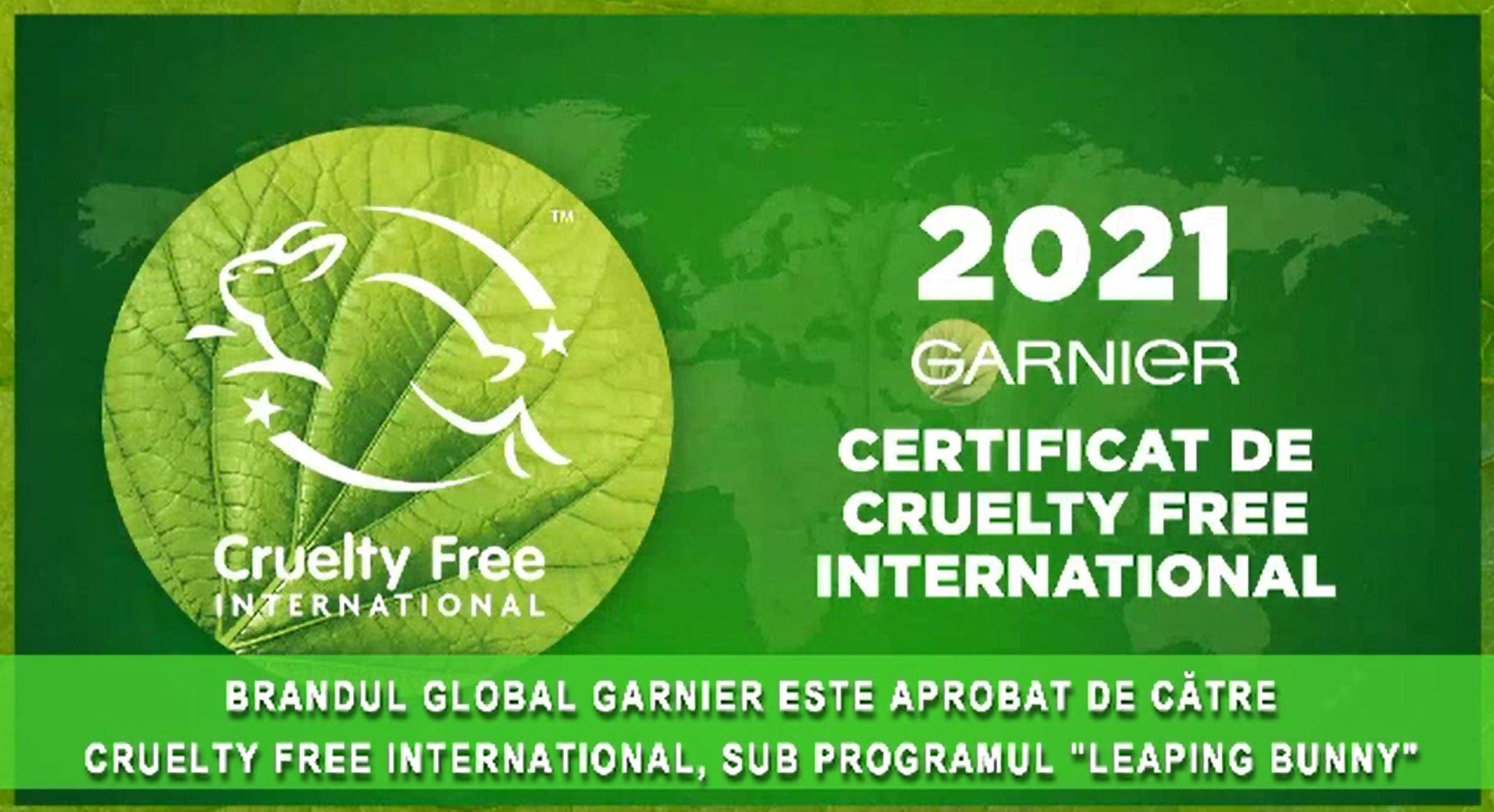 (P) Produsele Garnier, recunoscute la nivel internațional ca fiind cruelty-free