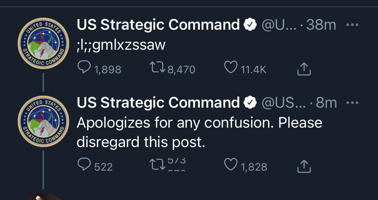 Mesaj 'misterios' pe contul de Twitter al Comandamentului american pentru arme nucleare