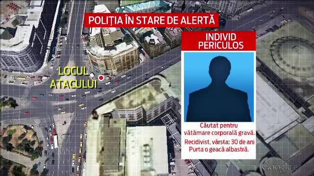 Politistii din Capitala il cauta pe un fost detinut, care a injunghiat un tanar in Piata Unirii. Filmul atacului