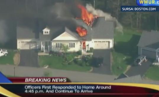 Momentul exploziei unei locuinte, surprins in direct de o televiziune din SUA. Apelul la 911 anunta un atac armat