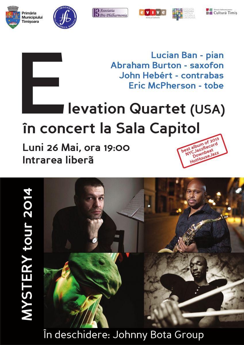 Grupul newyorkez de jazz, Elevation, in premiera pe scena de la Filarmonica Banatul. Intrarea la concert este libera