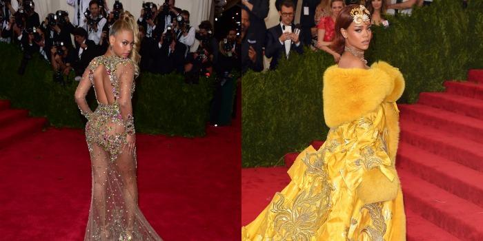 Tinute extrem de indraznete la Met Gala din New York. Rihanna si Beyonce au oferit un adevarat spectacol pe covorul rosu