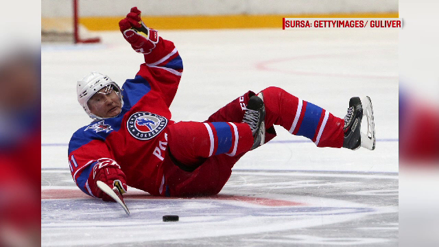 Putin, trantit la pamant in timpul unui meci de hochei. Liderul rus s-a enervat cand fotoreporterii s-au repezit sa-l pozeze