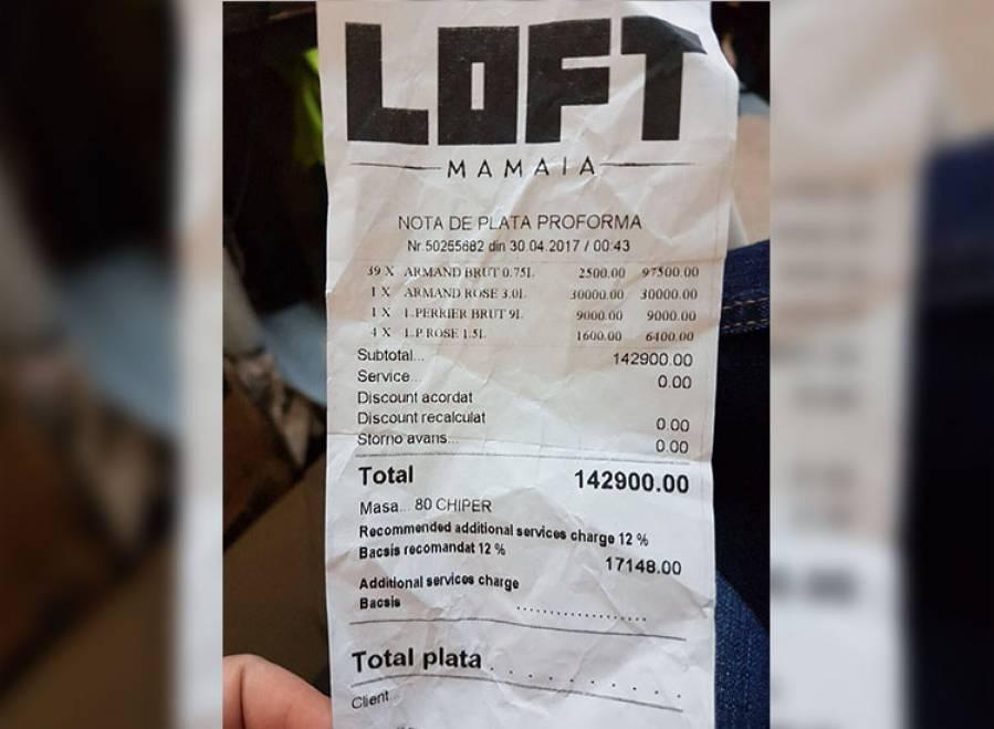 A cheltuit pe sampanie cat pe o garsoniera. Cum arata o nota de plata din Loft, celebrul club din Mamaia
