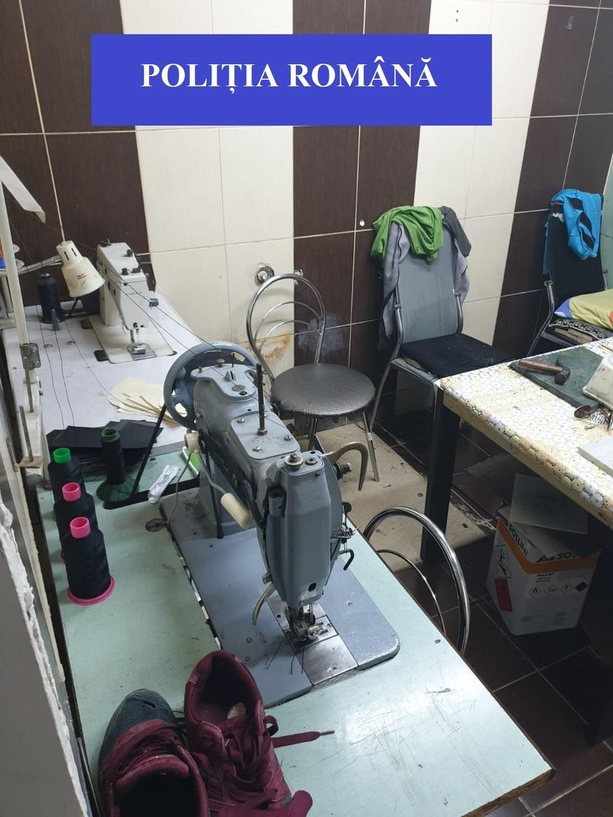 Două fabrici de încăltăminte contrafăcută, descoperite de polițiști la Jilava