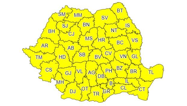 Cod galben în București și 28 de județe: ploi torenţiale, descărcări electrice, vijelii şi grindină
