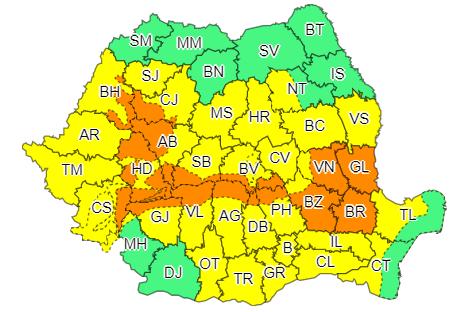 ANM a emis cod portocaliu și galben de ploi abundente în aproape toată țara