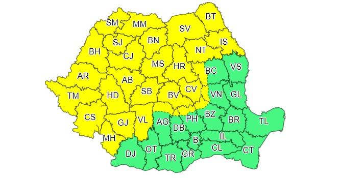 Cod galben de ploi torențiale, vijelii și grindină în peste jumătate din țară