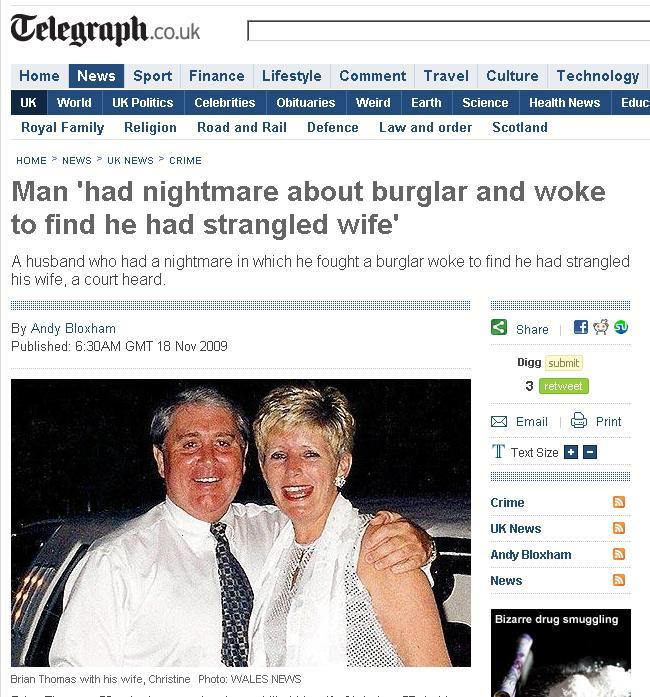 Si-a strangulat sotia in somn, in timp ce visa ca se lupta cu un hot!