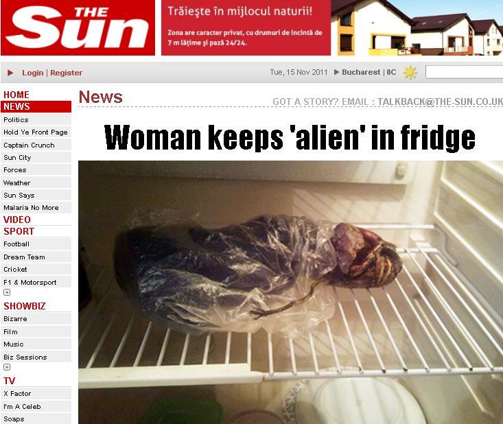 Oficialii NU exclud varianta unui extraterestru. Ce tinea o rusoaica ascuns in frigider de doi ani