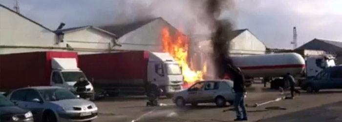 Tragedia de la Mihailesti, aproape sa fie repetata la Buzau unde o cisterna cu propan a luat foc