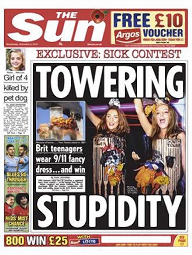 Reactii dure din partea The Sun, dupa ce doua tinere s-au costumat in turnurile gemene de Halloween