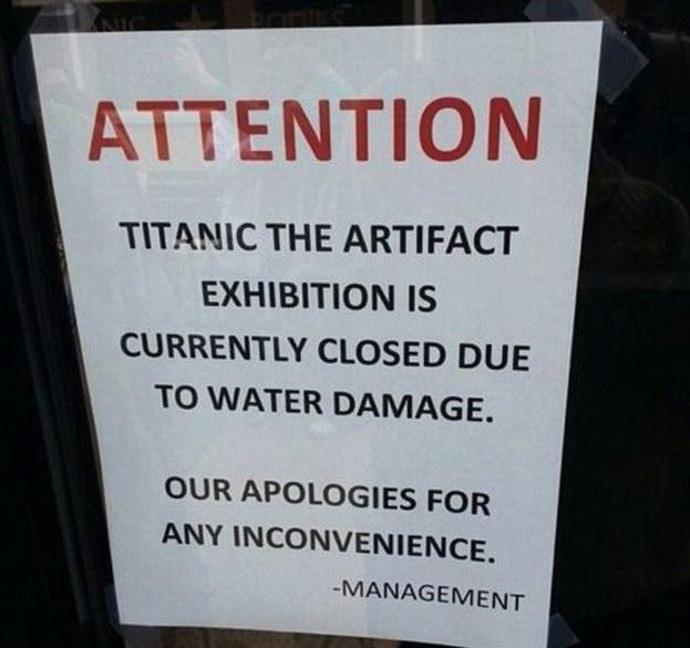 Culmea ironiei. O expozitie cu artefacte recuperate de pe Titanic, inchisa din cauza unei inundatii