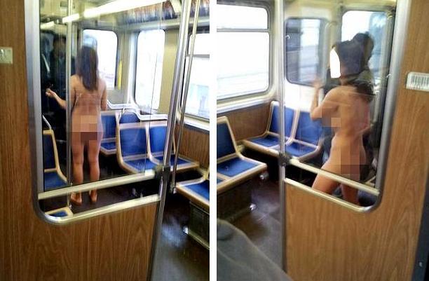 O femeie dezbracata a incercat sa deturneze un tren de navetisti