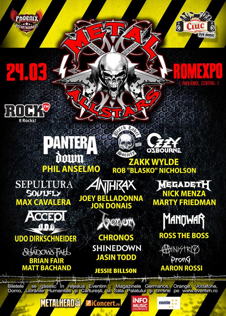 Premiera in Romania, Metal All Stars la Romexpo: Phil Anselmo, Zakk Wylde, Max Cavalera