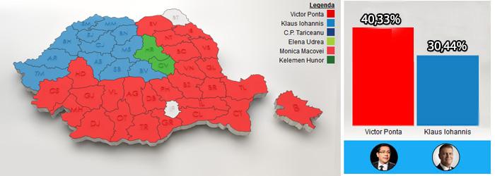 ALEGERI PREZIDENTIALE 2014. REZULTATE FINALE OFICIALE. Victor Ponta - 40,44%, Klaus Iohannis - 30,37%. Harta interactiva