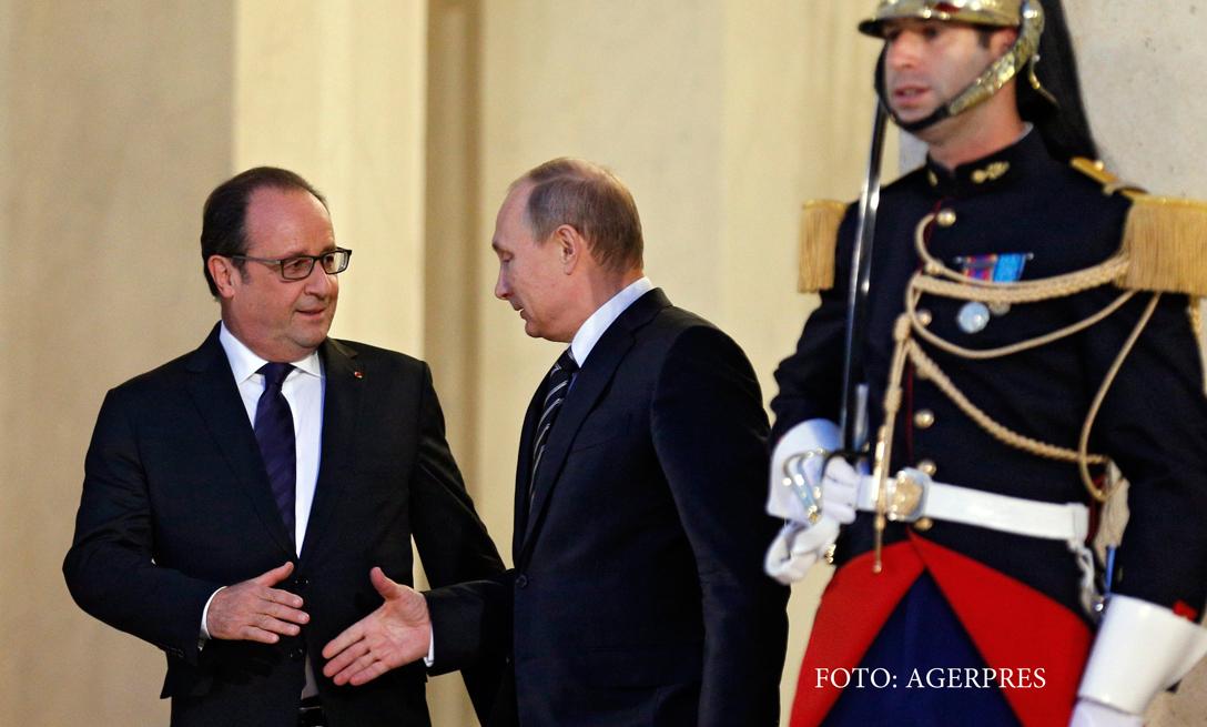 Francois Hollande se intalneste astazi cu Putin. Franta incearca o apropiere intre SUA si Rusia cu privire la atacarea ISIS