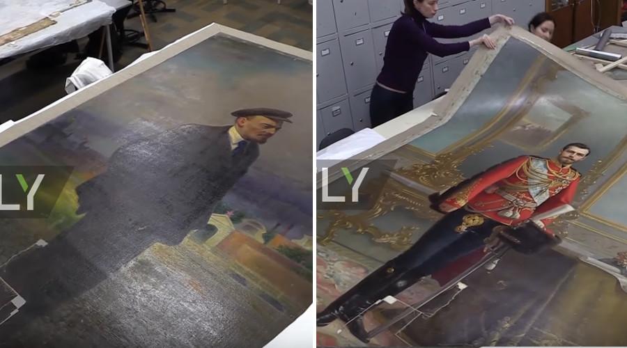 Descoperirea facuta de rusi in spatele unui tablou cu Lenin: A stat ascuns aproape 100 de ani. Artistul a riscat enorm. VIDEO