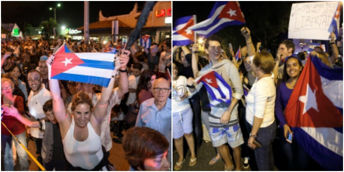 Petrecere nocturna la Miami, dupa moartea lui Fidel Castro. Oamenii au iesit pe strazi cu sampanie si steaguri. VIDEO