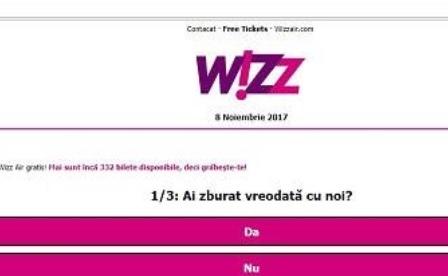 Nou tip de înselătorie virtuală pe Facebook, cu bilete gratuite oferite de Wizz Air. Reacția companiei