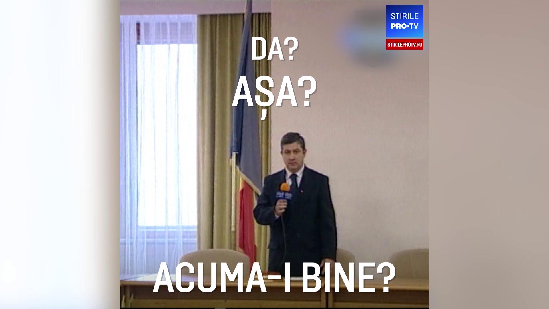 Imagini inedite cu Florin Iordache ținând un discurs în 2004 într-o sală goală. VIDEO