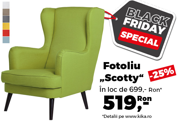 "Reduceri kika Black Friday. Fotoliu ""Scotty"", în 7 culori, redus cu 25%"