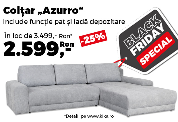 Reduceri kika Black Friday. Colțarul Azzuro, cu funcție pat și ladă, redus cu 25%
