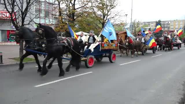 100 de români din Covasna au pornit cu căruţele către Alba Iulia, unde vor sărbători Marea Unire