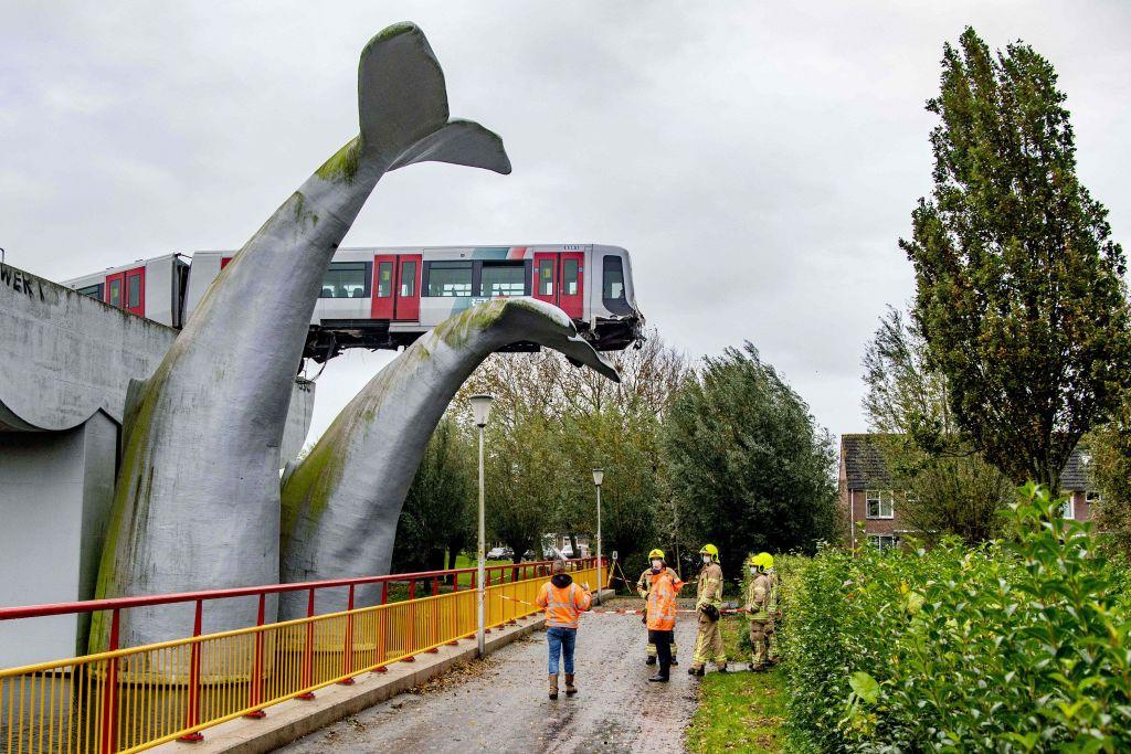FOTO. Un metrou a rămas suspendat pe o coadă de balenă după ce a deraiat