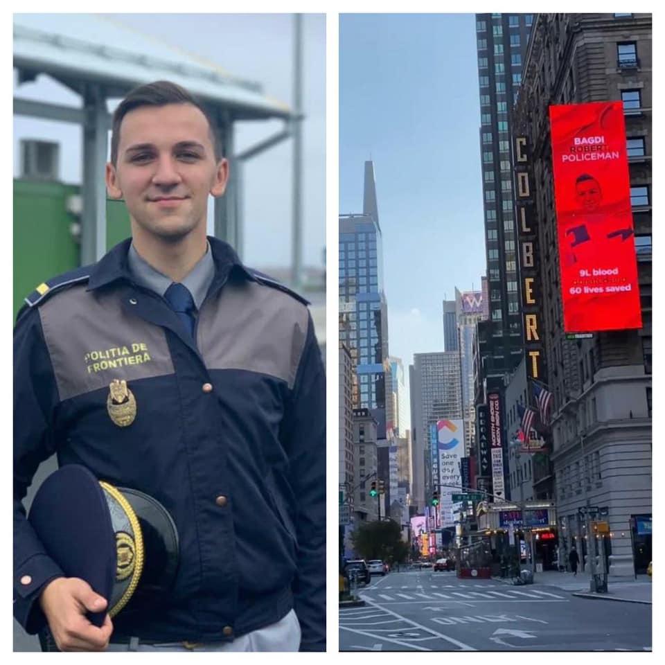 Poliţistul român de 23 de ani a cărui fotografie e afişată în Times Square.