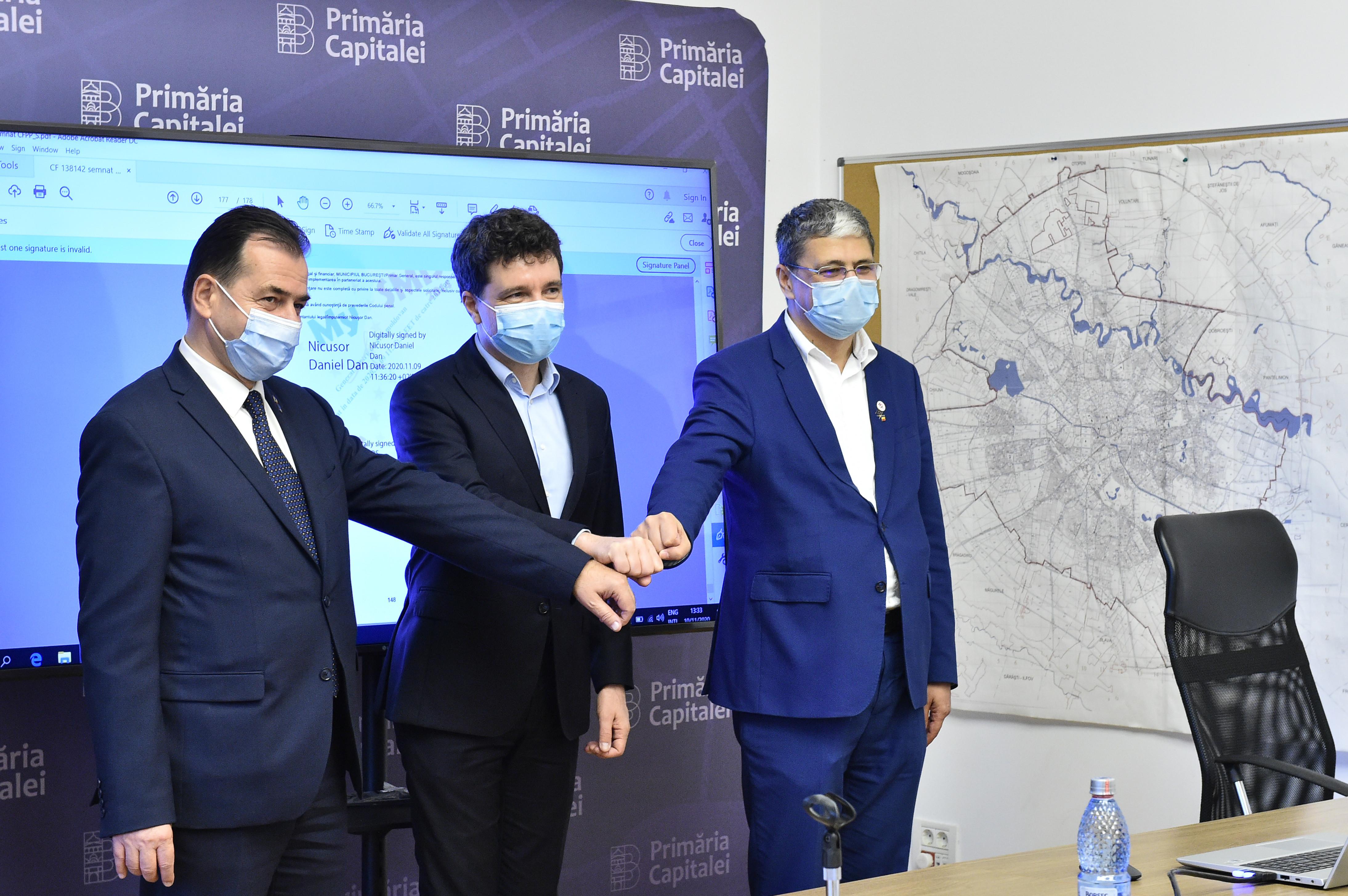 Nicușor Dan a semnat contractul de reabilitare cu bani europeni a unui segment de termoficare