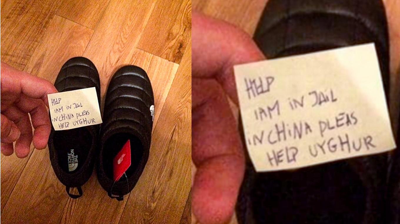 """Mesajul unui uigur exploatat, descoperit într-o pereche de papuci. """"Ajutor, sunt într-o închisoare în China"""